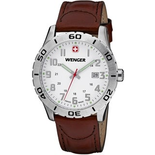 Wenger Men's Grenadier White Dial Brown Leather Watch