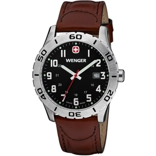 Wenger Men's Grenadier Black Dial Brown Leather Watch
