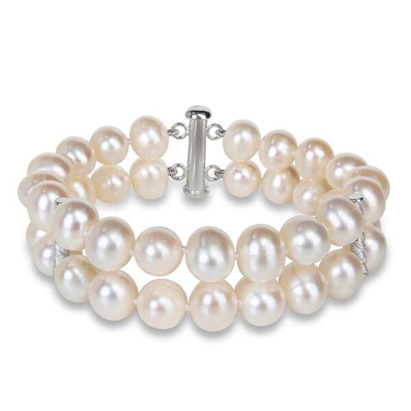 Miadora Silver 2-strand White Pearl Bracelet (9-10 mm)