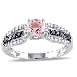 Miadora 10k White Gold Morganite and 1/3ct TDW Black and White Diamond Ring