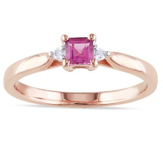 Miadora Roseplated Silver Pink Tourmaline and Diamond Accent Ring