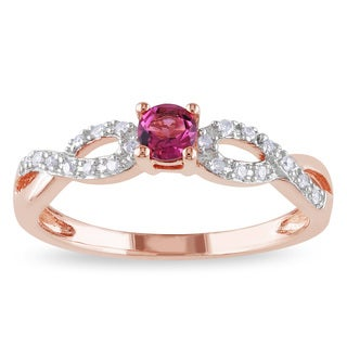 Miadora Roseplated Silver Pink Tourmaline and 1/10ct TDW Diamond Ring (H-I, I2-I3)