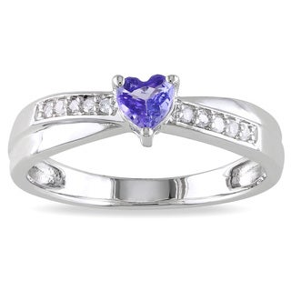 Miadora Sterling Silver Tanzanite and Diamond Accent Heart Ring