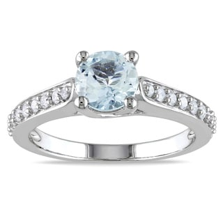 Miadora 10k White Gold Aquamarine and 1/4ct TDW Diamond Ring (G-H, I1-I2)
