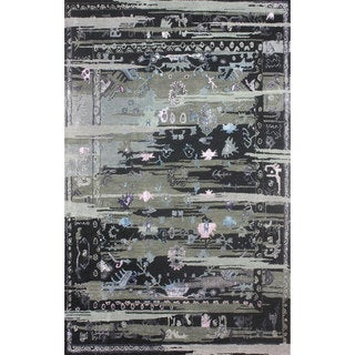nuLOOM Handmade Vintage-inspired Transitional Wool/ Viscose Black Area Rug (8' x 10')