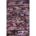 nuLOOM Handmade Vintage-inspired Transitional Black Wool/ Viscose Area Rug (5' x 8')