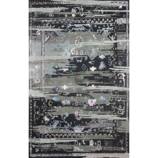 nuLOOM Handmade Vintage Inspired Transitional Wool/ Viscose Black Rug (5' x 8')