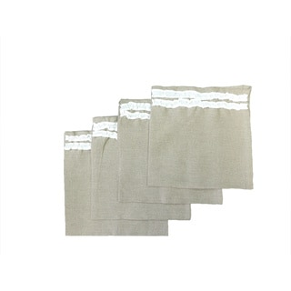 Natural Linen Napkin With White Petite Ruffle (set of 4)
