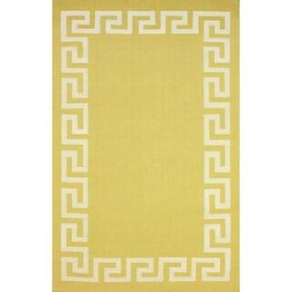nuLOOM Flatweave Geo Border Wool Rug (7'6 x 9'6)