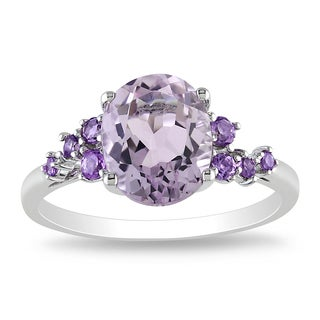 Miadora Sterling Silver 2 1/2ct TGW Rose de France and Amethyst Ring