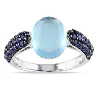 Miadora Sterling Silver 4 2/5ct TGW Blue Topaz and Sapphire Ring