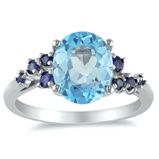 Miadora Sterling Silver 4ct TGW Blue Topaz and Sapphire Ring