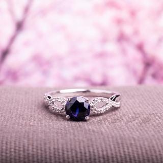 Miadora 10k White Gold Blue Sapphire and 1/10ct TDW Diamond Ring (G-H, I1-I2)