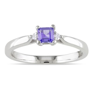 Miadora Sterling Silver Square-cut Tanzanite and Diamond Ring