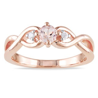 Miadora Roseplated Silver Morganite and Diamond Ring