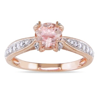 Miadora Roseplated Silver Morganite and 1/5ct TDW Diamond Ring (H-I, I2-I3)