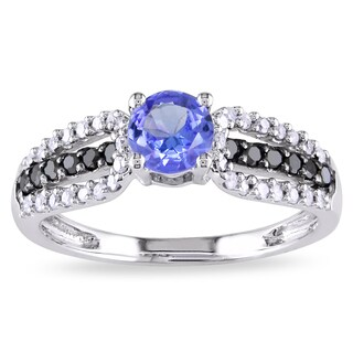 Miadora 10k White Gold Tanzanite and 1/3ct TDW Black and White Diamond Ring