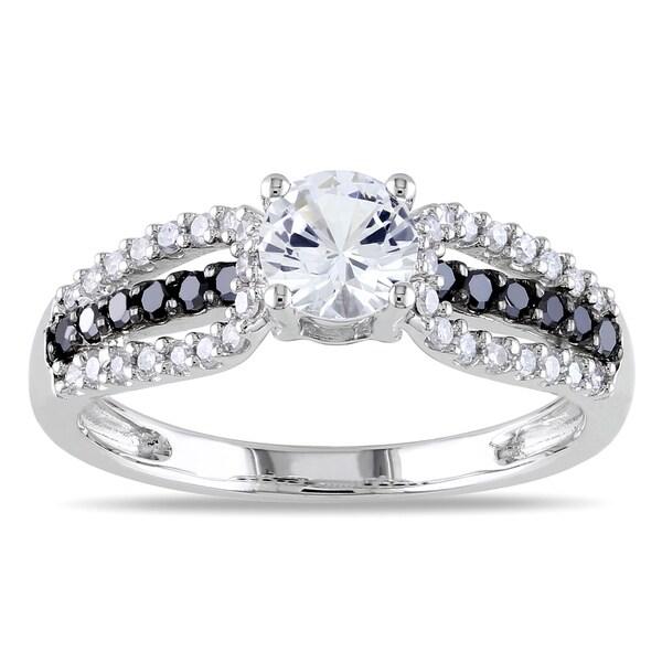 Miadora 10k Gold White Sapphire and 1/3ct TDW Black and White Diamond Ring 12127251