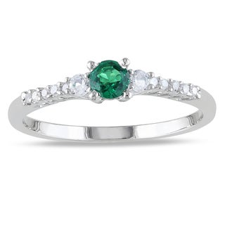 Miadora Sterling Silver Created Emerald, White Sapphire and Diamond Ring