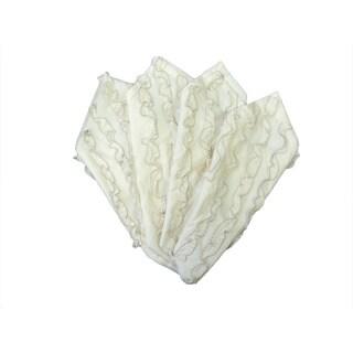 White And Grey Ruffled Stitched Napkin (Set of 4)