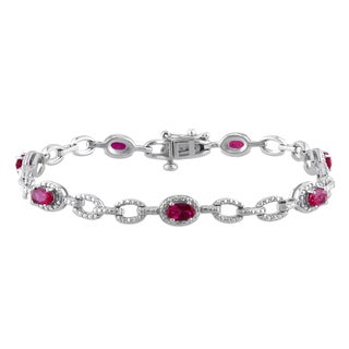 Miadora Sterling Silver 2 3/4ct TGW Created Ruby Oval Bracelet