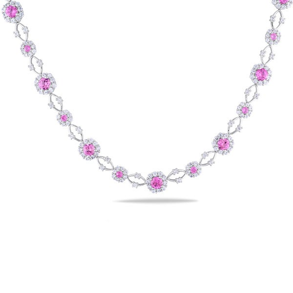 Miadora Sterling Silver Created Pink and White Sapphire Flower Necklace