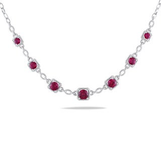 Miadora Sterling Silver 8 3/4ct TGW Created Ruby and Diamond Necklace