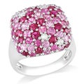 Miadora Sterling Silver 4ct TGW Pink Sapphire Cocktail Ring