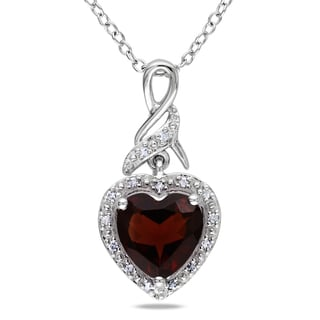 Miadora Sterling Silver Garnet and Diamond Heart Necklace