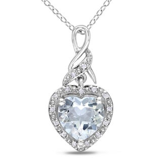 Miadora Sterling Silver Aquamarine and Diamond Accent Heart Necklace