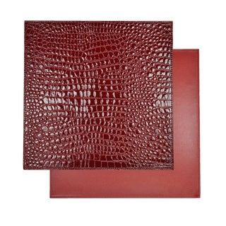 Reversible Faux Leather Crocodile Wine Red Placemat Set (Set of 2)