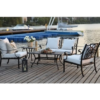 R Palace Deep Seating 4-piece Group with Sunbrella Canvas Natural Cushion
