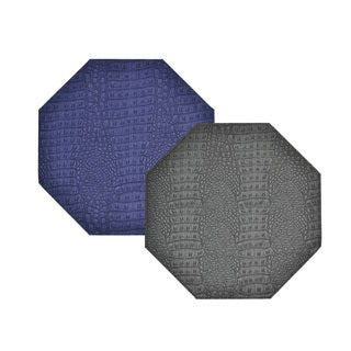 Reversible Faux Leather Crocodile Grey/ Plum Placemat (Set of 2)