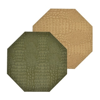 Reversible Faux Leather Crocodile Green/ Tan Placemats (Set of 2)
