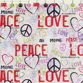 Peace Love Graffiti Shower Curtain & Hook Set