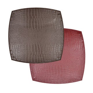 Reversible Faux Leather Crocodile Wine/ Brown Placemat (Set of 2)