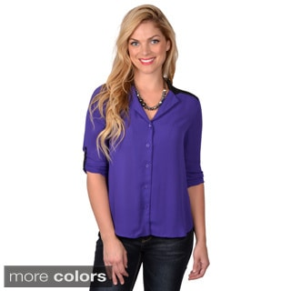 Journee Collection Women's Loose Fit Button-up Chiffon Top