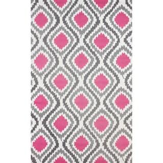 nuLOOM Handmade Modern Ikat Pink Rug (7'6 x 9'6)