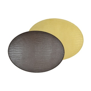 Reversible Faux Leather Crocodile Brown/Gold Placemats (Set of 2)