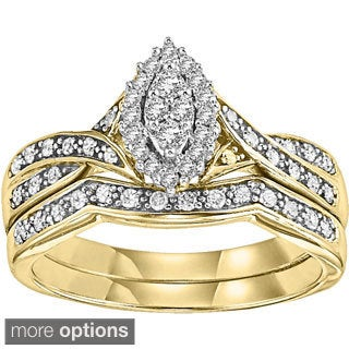 14k White or Yellow Gold 1/4ct TDW Marquise Shape Diamond Bridal Ring Set (I-J, I1-I2)