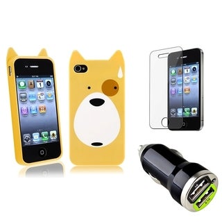 BasAcc Dog Case/ LCD Protector/ Car Charger for Apple iPhone 4/ 4S