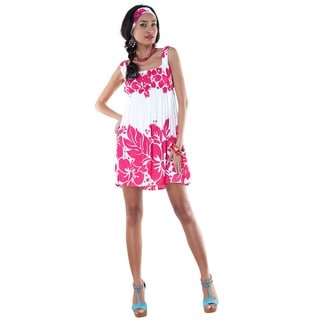 Sleeveless Triple Lei Pink and White Cover-Up Short Dress (Indonesia)