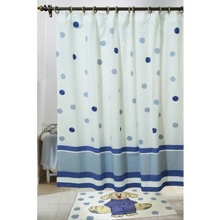 Elsie Dot and Stripe Cotton Shower Curtain