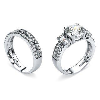 Ultimate CZ Platinum over Silver 4 1/5ct TGW Cubic Zirconia 2-ring Set