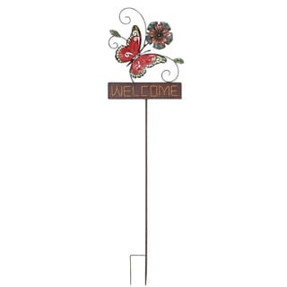 Metal Butterfly Welcome Sign Garden Stake