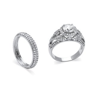 PalmBeach 2.60 TCW Round Cubic Zirconia Two-Piece Halo Bridal Set in Platinum over Sterling Silver Classic CZ