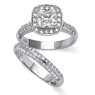 Ultimate CZ 2 1/10ct TGW Cubic Zirconia Bridal Style Ring Set