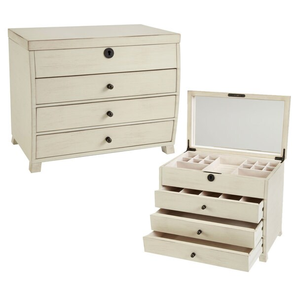 Seya Vintage White Wooden Jewelry Box with Mirror