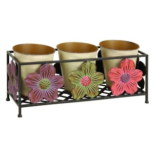 Metal Planter and Beige Pots Set