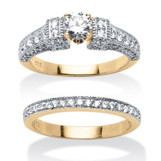 Ultimate CZ 1 1/3ct TGW Cubic Zirconia Bridal Style Ring Set